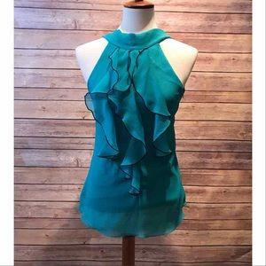Turquoise Ruffled Blouse